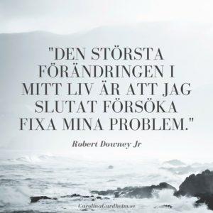 Den största förändringen i mitt liv är att jag slutat försöka fixa mina problem (Robert Downey jr)