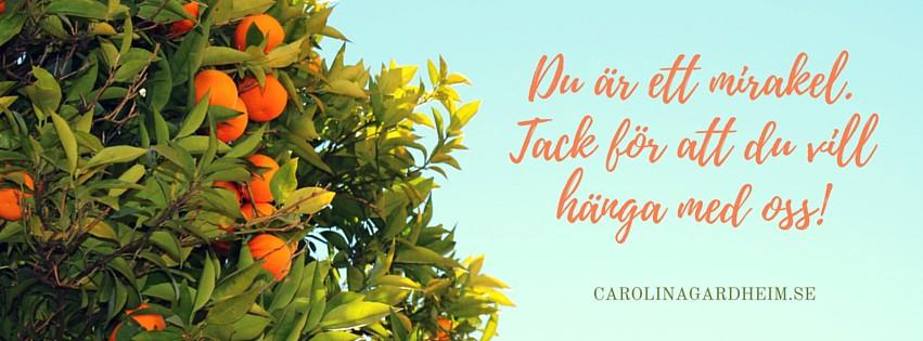 Du är ett mirakel. Tack för att du vill hänga med oss! CarolinaGardheim.se